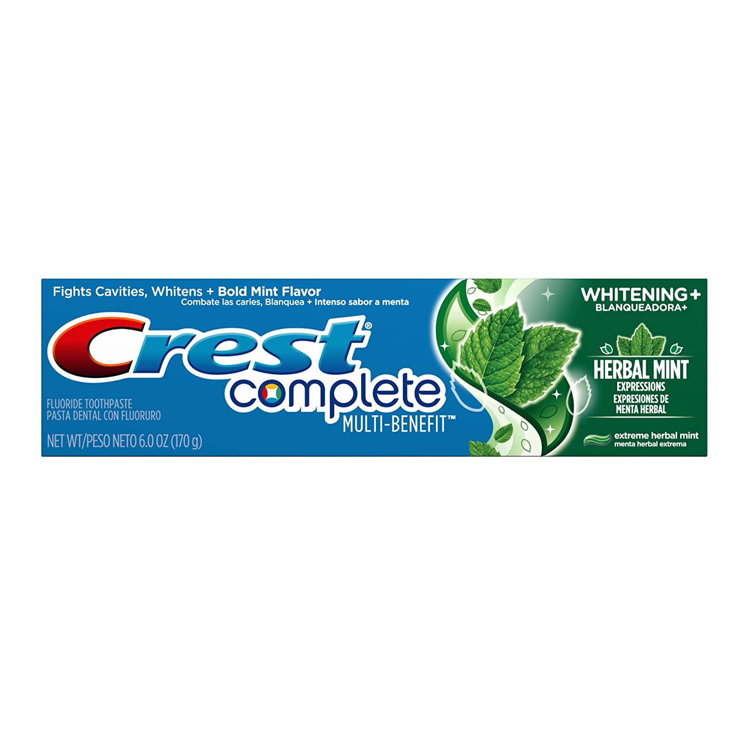 Crest Complete Multi-Benefit Whitening + Herbal Mint Expressions, Extreme Herbal Mint Toothpaste - 6.0 Oz, Pack of 6