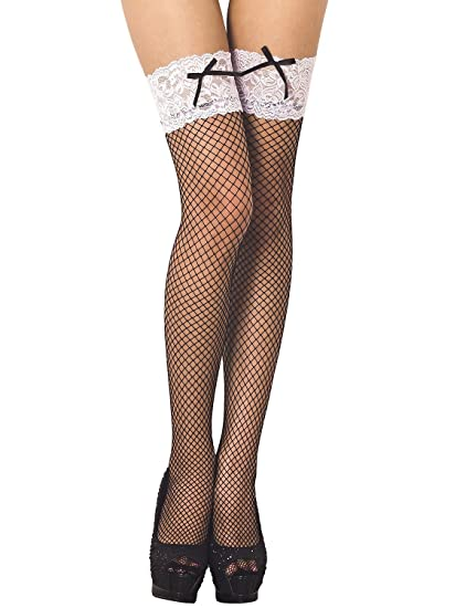 2bd33480dc8 Amazon.com: iB-iP Women's bowknot lace seamless stylish fishnet Thigh High  Hold-up Stockings, Size: One Size, Black: Clothing