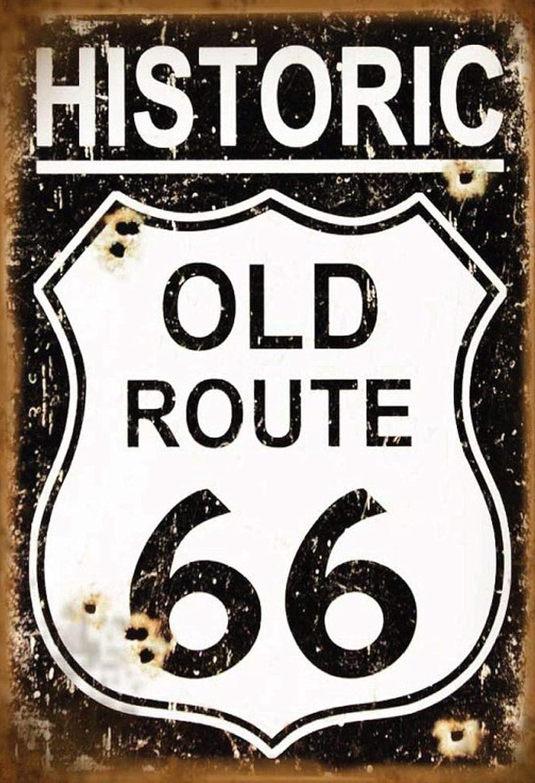 FS Cartello Stradale Historic Old Route 66 Targa in Metallo bombato Metal Sign 20 x 30 cm