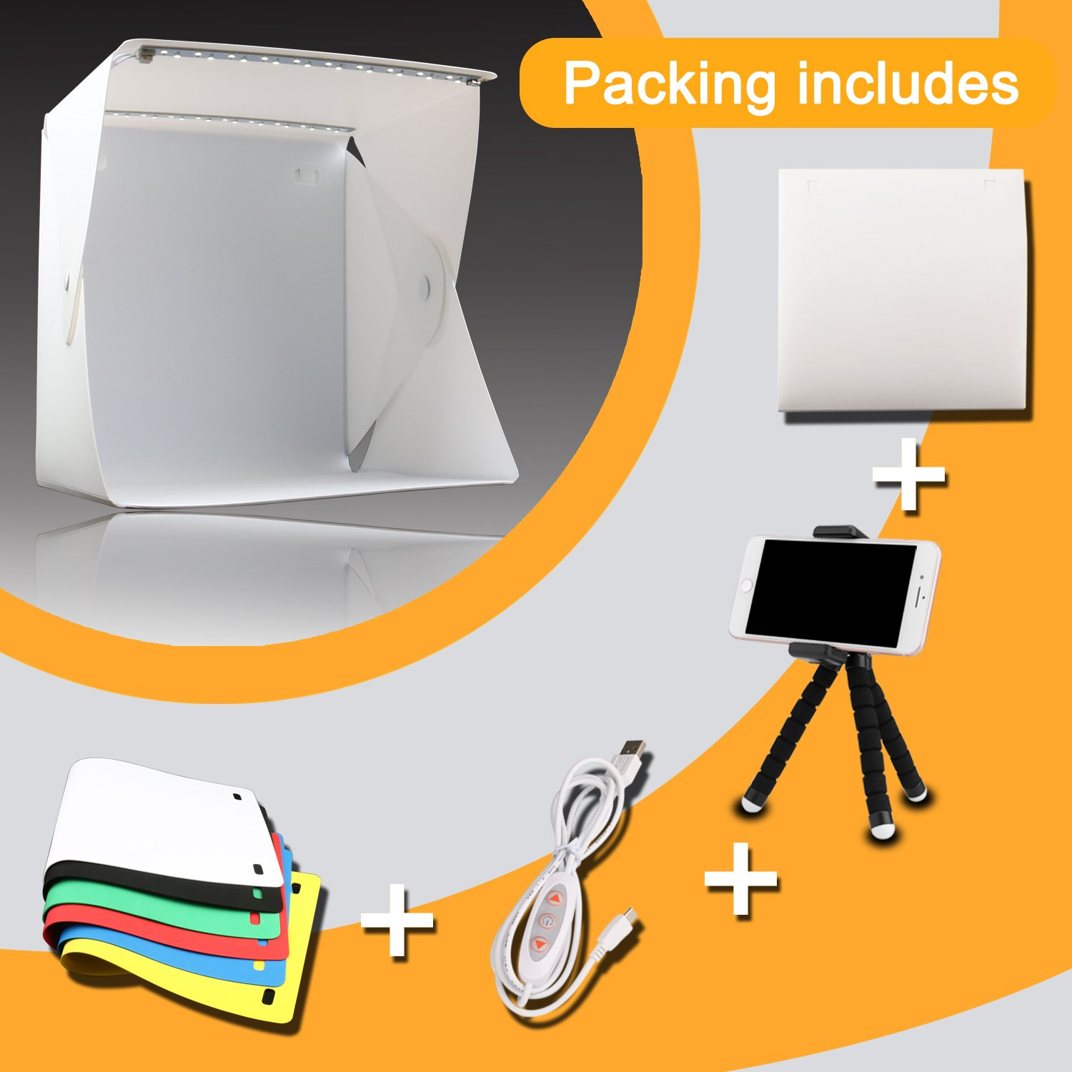 Donwell Portable Photo Studio Tent Light Box Folding Photography Shooting Kit with Adjustable LED Lights and 6 Colors Background New 2018 (Size: 9.8'' x 9.5'' x 9'') by DONWELL (Image #4)