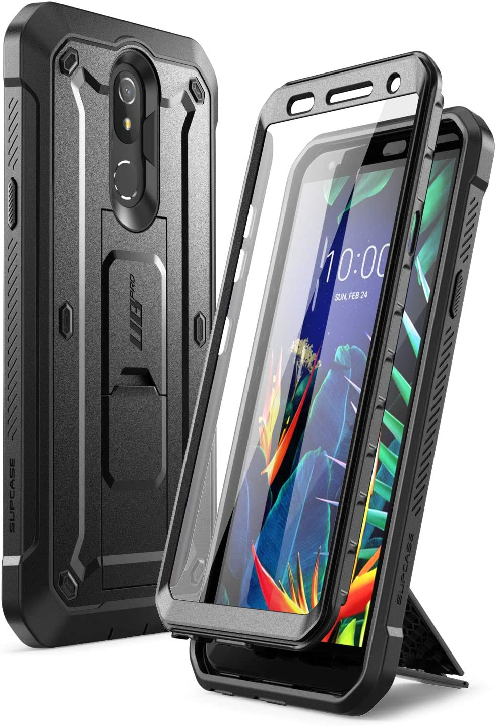 SupCase Unicorn Beetle Pro Series Case Designed for LG K40 (2019 Release), Full-Body Rugged Holster & Kickstand Case with Built-in Screen Protector(Black)