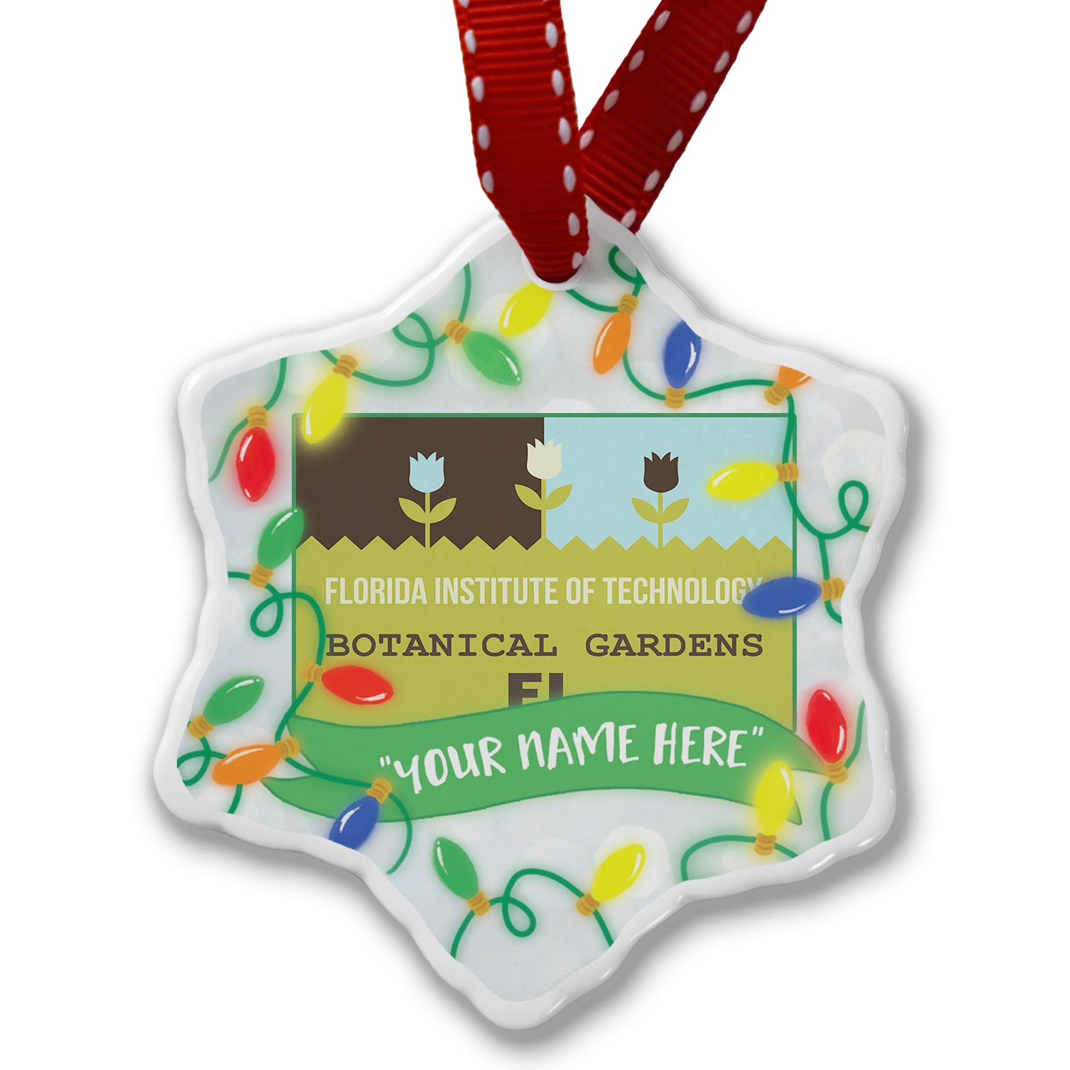 Personalized Name Christmas Ornament, US Gardens Florida Institute of Technology Botanical Gardens - FL NEONBLOND