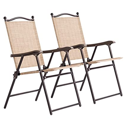 Custpromo Set Of 2 Patio Folding Sling Back Chairs, Portable Camping Deck  Lounge Chair Garden