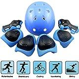 Skateboard Helm Protektoren Set Für Kinder, EarthSave Schutzset Ellenbogenschützer Handgelenkschoner Knieschoner für Skate, Fahrrad, Radfahren, Reiten, Skateboard, Roller Skate