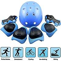 EarthSave Kids Protettiva Gear, Casco Skateboard elmetto, Ginocchiere, gomitiere per Polsi e Regolabile da Usare per Ciclismo, Pattinaggio, Scooter 7pz/Set