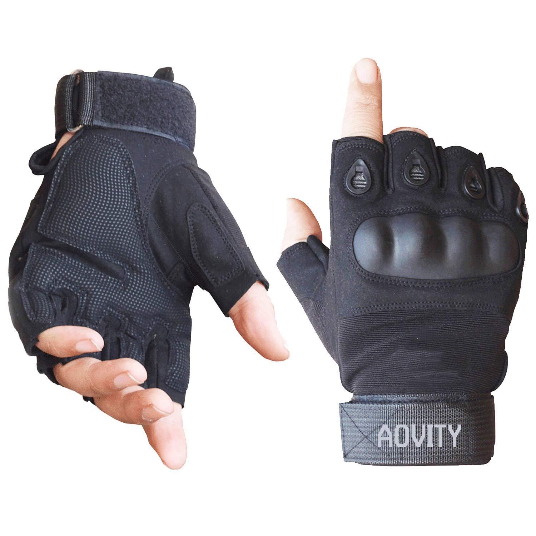 Hard Knuckle Guante de deportes al aire libre para escalar Motocicletas Ciclismo Senderismo y caza Negro, XL AVITY Guantes de medio dedo