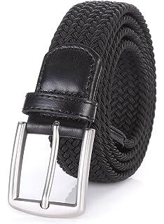 "Ladies Womens Girls Black White Grey Stripe Faux Leather Belt 32/"" to 36/"" Inch"