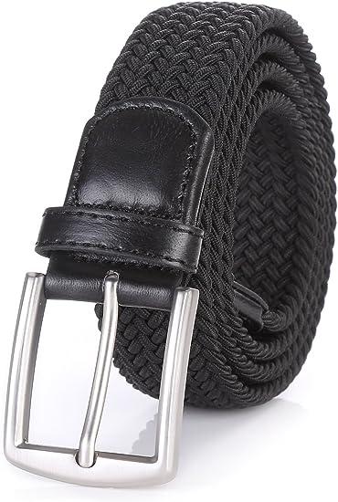 """Weifert Men/'s Stretch Woven 1.3/"""" Wide Elastic Braided Belts Alloy Buckle"""