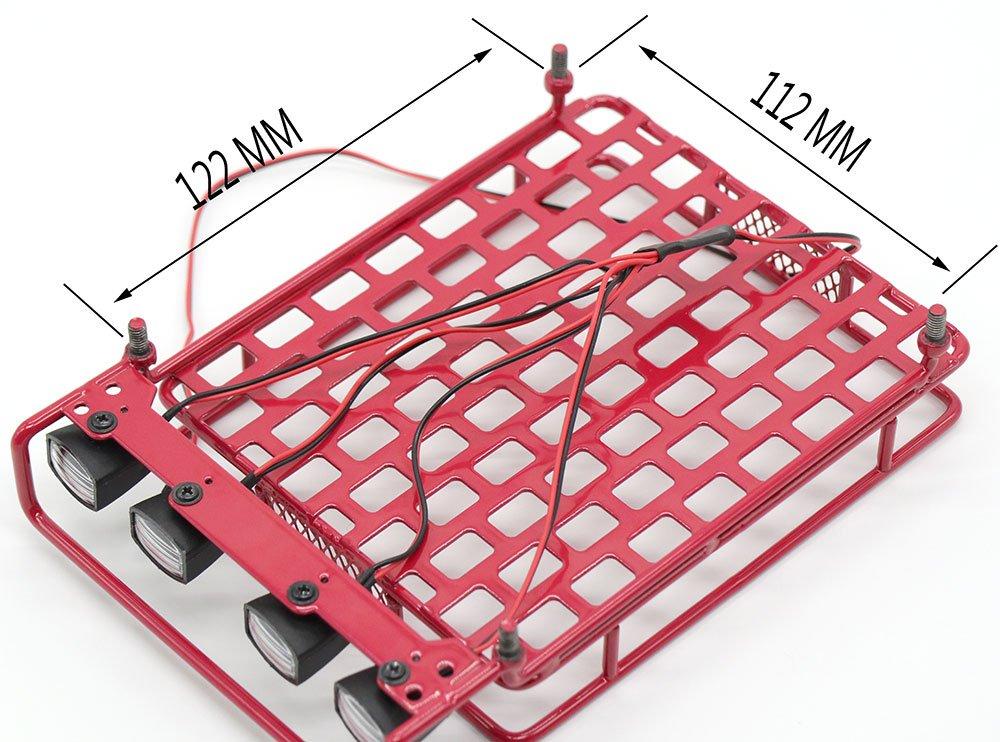 Red WishRing RC 1:10 Roof Luggage Rack LED Light Bar Wrangler Tamiya CC01 SCX10 Axial 514
