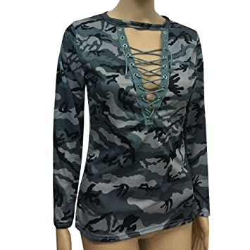 HOSOME Women Top Fashion Women Long Sleeve Shirt Slim Casual Blouse Camouflage Print Tops