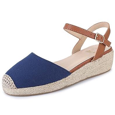 Canvas Slingback Espadrilles Damen Schnalle Sandalen mit Keilabsatz Blau 39 EU Alexis Leroy fYH9zNVr