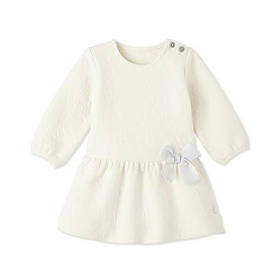 Petit Bateau Petit Bateau Baby Girls Dress With Bow at Waist, Ivory, Baby
