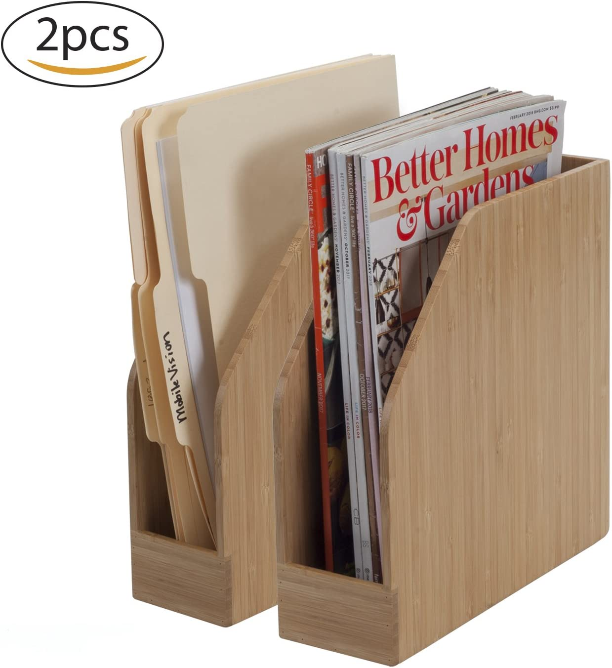 Amazon Com Bamboo Vertical File Folder Holder Office Product Organizer Store Files Magazines Notepads Books And More 2 Pack Combo Set Home Improvement