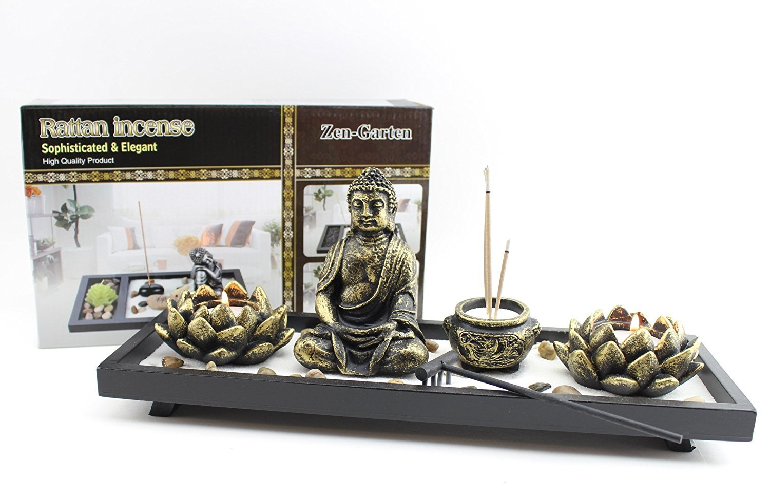 Feng Shui Tabletop Zen Garden Buddha Rock Rake Sand Candle Incense Burner Home Decor Gift (KT00034) ~ We Pay Your Sales Tax by We pay your sales tax (Image #6)
