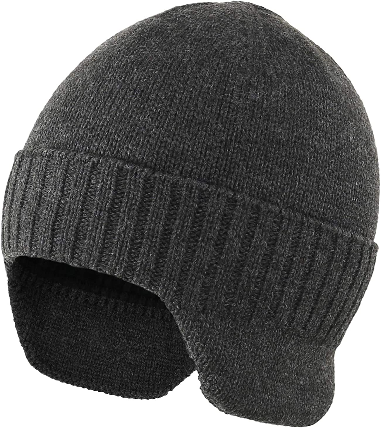 Home Prefer Mens Winter Hat Knit Earflap Hat Stocking Caps with Ears Warm Hat