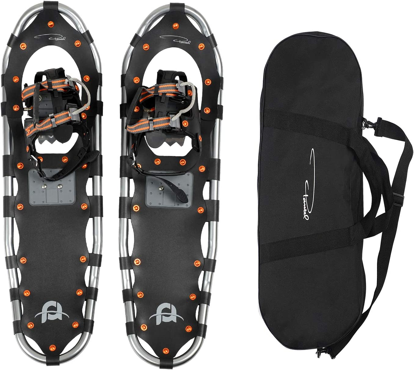 Pansel 22 25 30 35 Snowshoes for Men, Women and Youth, Lightweight Aluminum Alloy Snow Shoes with Adjustable Ratchet Bindings Carrying Tote Bag, 80 120 160 210 lbs. Capacity