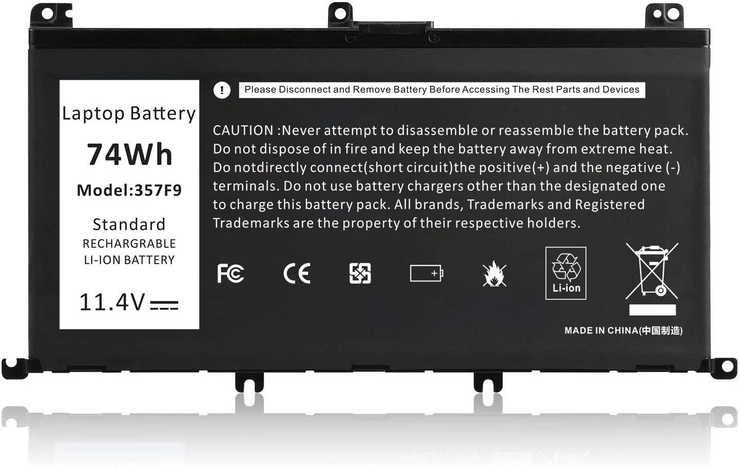 Type 357F9 0GFJ6 71JF4 Battery for Dell Dell Inspiron 7000 Dump 15 7566 7567 7557 7559 I7559 5576 5577 INS15PD-1548B 1548R 1748B 1748R 2548R 2548B 2748R