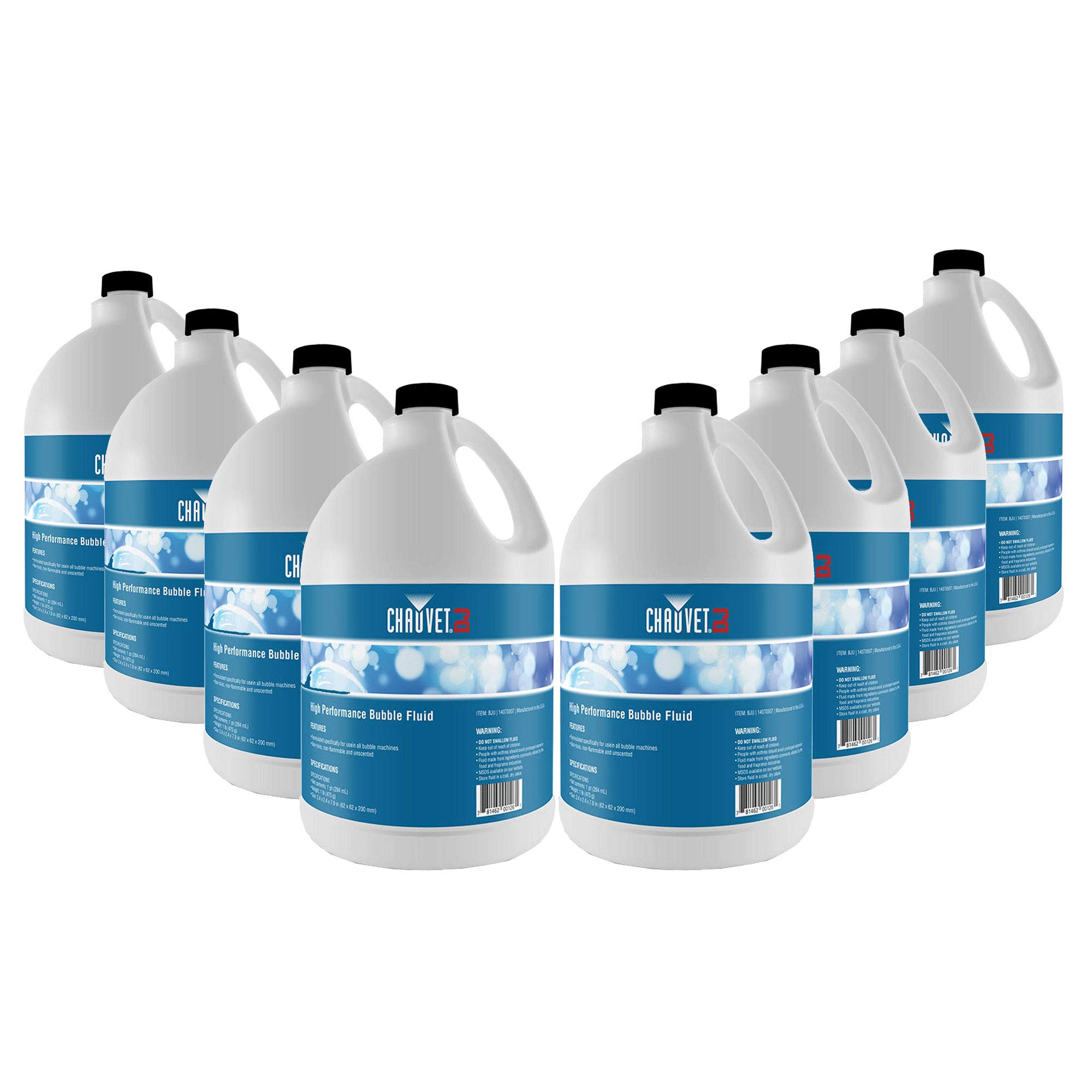 Chauvet High-Performance Non-Staining Unscented Bubble Fluid, 1-Gallon (8 Pack)