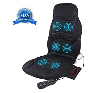 IDODO Vibrating Car Seat Cushion Cover Pads Massager With Heat Massage Chair To Relax