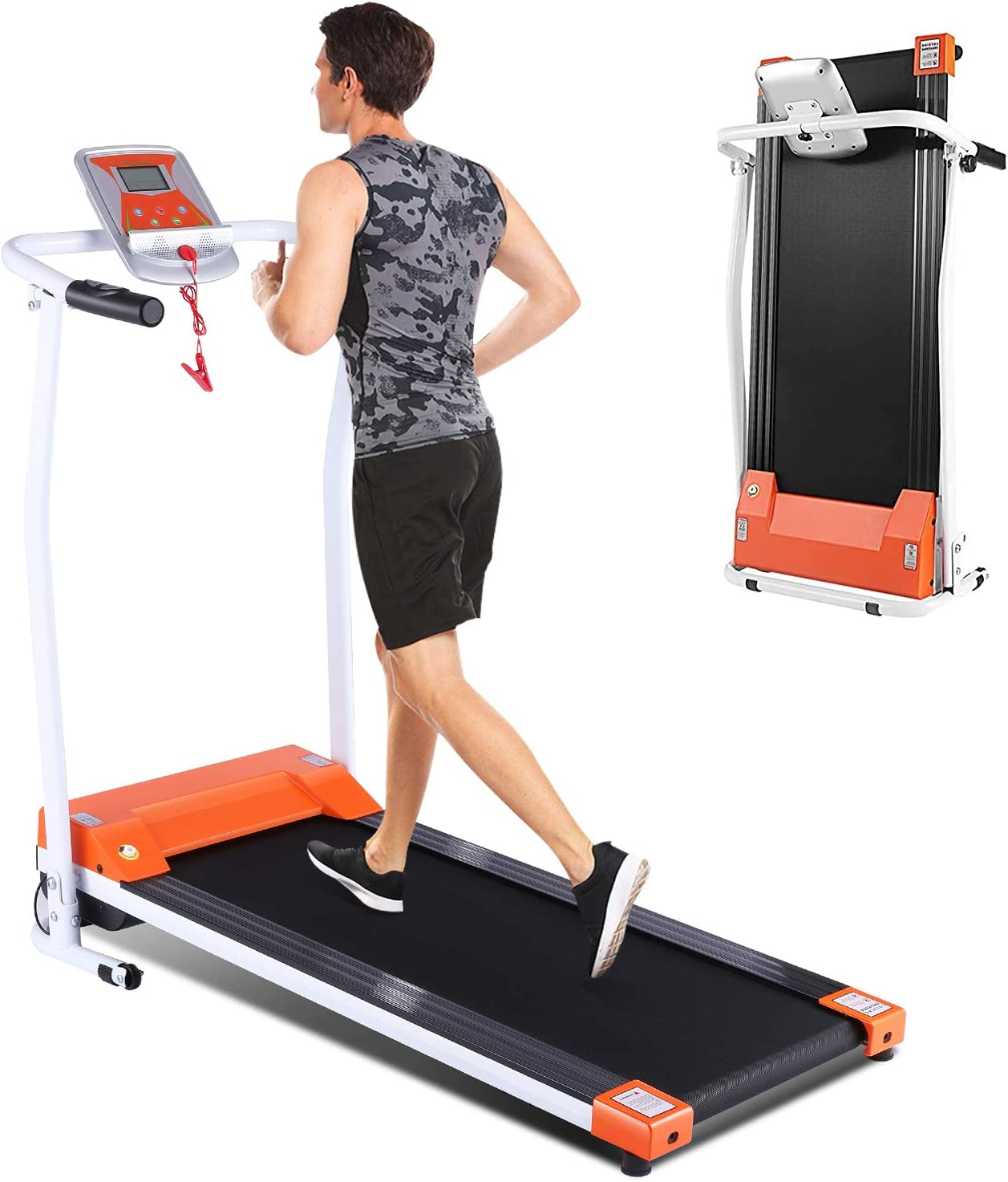 Folding Treadmill for Home, Portable Electric Treadmill Exercise Machine with LCD Display & Pulse Grip, Running Walking Jogging Exercise Fitness Machine for Home Gym Easy Assemble,Upgraded for 2020