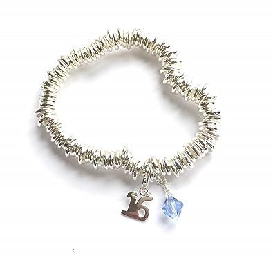 a29ca29366bb 16th Birthday Silver Chunky Link Bracelet with Aquamarine Swarovski  Elements Aquamarine and a Sterling Silver 16th Birthday Charm   Souloglyphics  ...