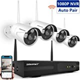 [Clearer Than 960H]Wireless Cameras Security System,SMONET 4CH 720P HD Wireless Surveillance Camera System,4pcs 1.0MP WIFI Bullet IP Cameras,Support Motion Detection,Easy Remote View,No Hard Drive