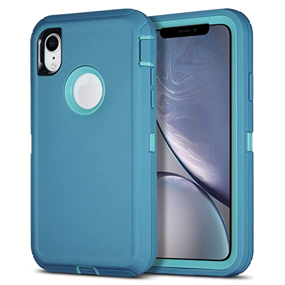 online store b9913 93a3b iPhone XR Case, Armorzon HeaviTek Defender Body Armor Dust Proof Heavy Duty  Shockproof Rugged PC TPU Cover Apple iPhone XR (Light Blue)