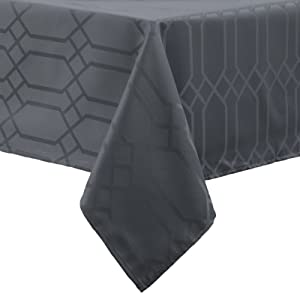 Benson Mills Chagall Spillproof Fabric Tablecloth, 60 x 120-Inch, Charcoal