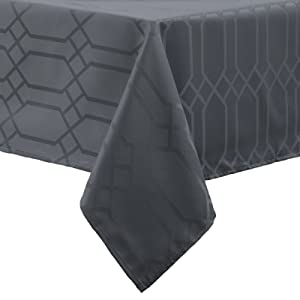 Benson Mills Chagall Spillproof Fabric Tablecloth, 60 x 84-Inch, Charcoal