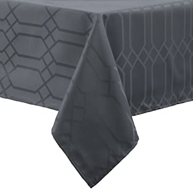 Benson Mills Chagall Spillproof Fabric Tablecloth, 60 x 104-Inch, Charcoal