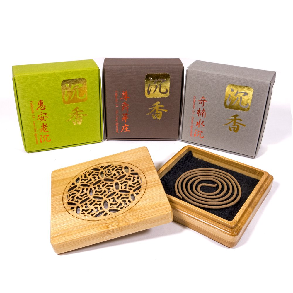 TopA+ Grade Agarwood Incense Coils Set - 3 levels each 10pcs - With Wood Burner Case