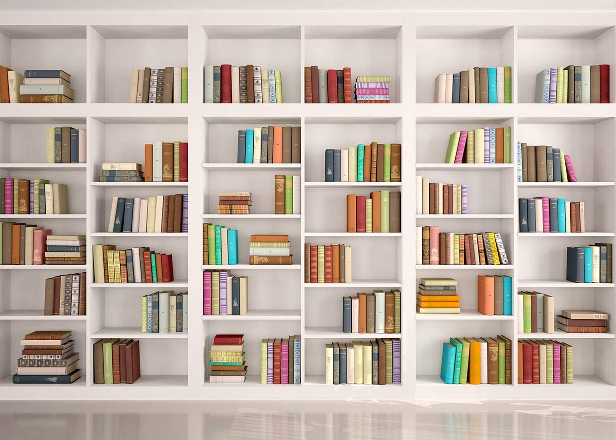 LYWYGG 10x8FT Bookshelf Backdrop Bookcase Backdrops Library Backdrop Office Backdrop for Video Conference Vintage Party Background Books CP-259-1008
