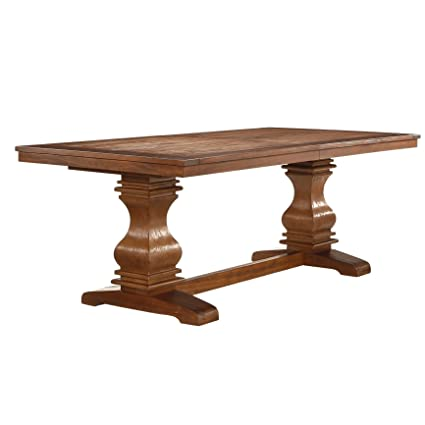 Amazon Com Pedestal Extending Dining Table With Double Pedestal