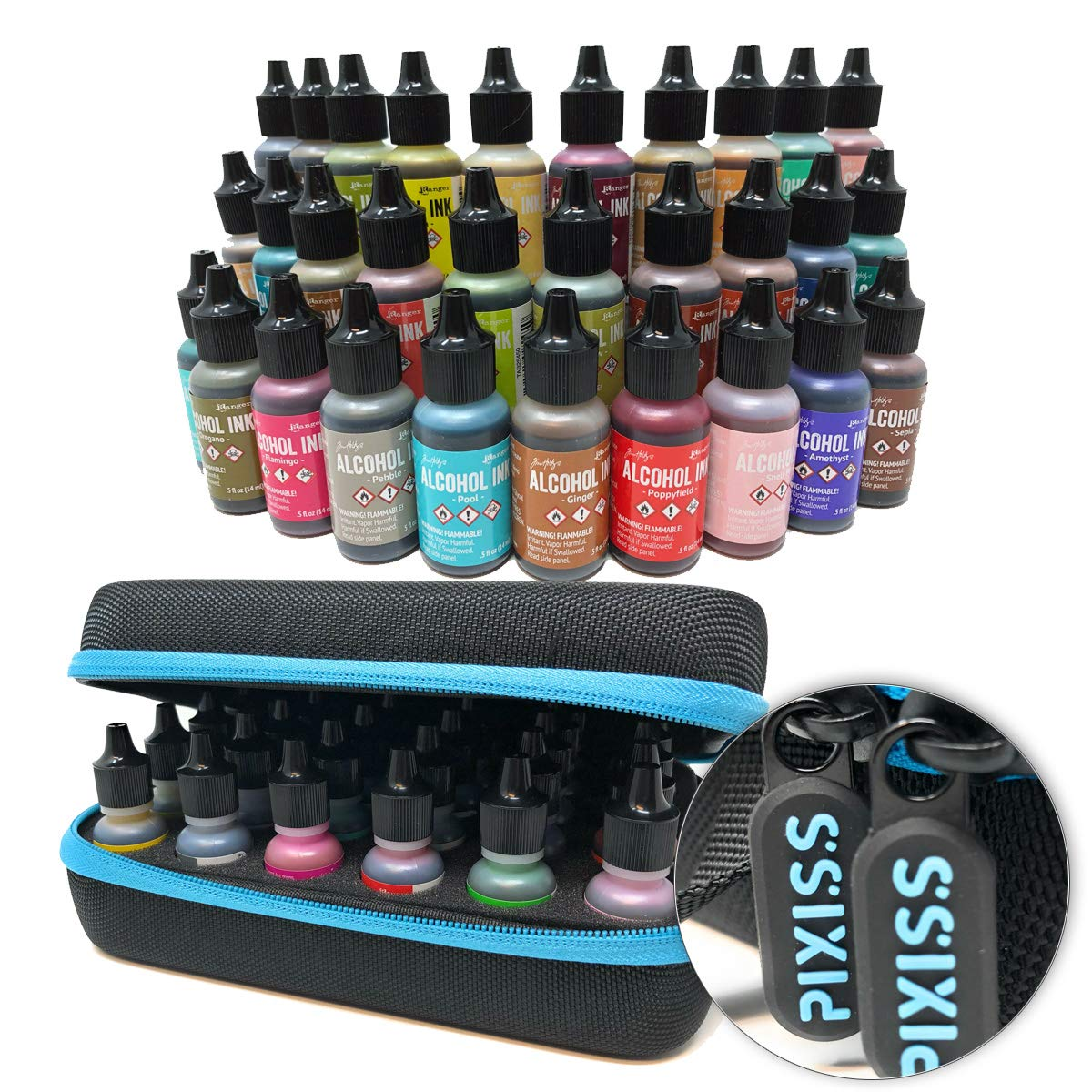 30x Tim Holtz Alcohol Ink .5oz Bottles (Assorted Colors), Pixiss Alcohol Ink Storage Carrying Case Organizer, Stores 30x 0.5-Ounce Bottles of Alcohol Ink, Stickles, Glossy Accents or Reinkers, Travel
