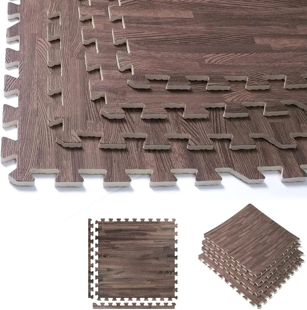 DOB Puzzle Exercise Mat Gym 23.2 in x 23.2 in Anti-Fatigue Protective Flooring for Home 5//8 inch Thick Floor Mats with Border Workout Wood Grain EVA Foam Interlocking Tiles