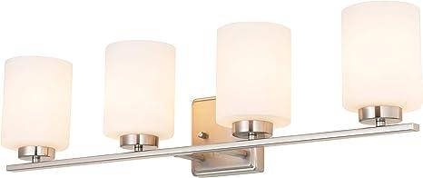 Kingbrite 4 Bulb E26 Bathroom Vanity Light Fixture Brushed Nickel White Glass Shade Ul Listed Amazon Com
