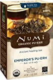 Numi Organic Tea Emperor's Pu-erh, Full Leaf Black Pu-erh Tea, 16 Count non-GMO Tea Bags
