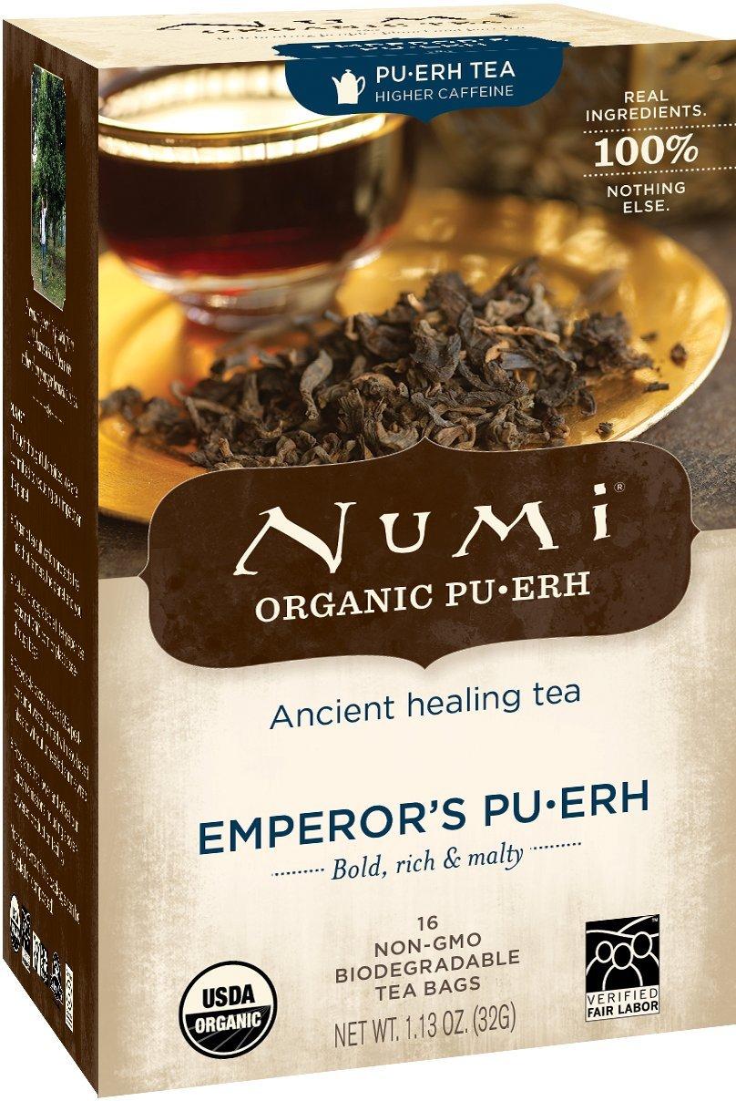 Numi Organic Tea Emperor's Pu-erh, Full Leaf Black Pu-erh Tea, 16 Count non-GMO Tea Bags, Net WT. 1.13 oz