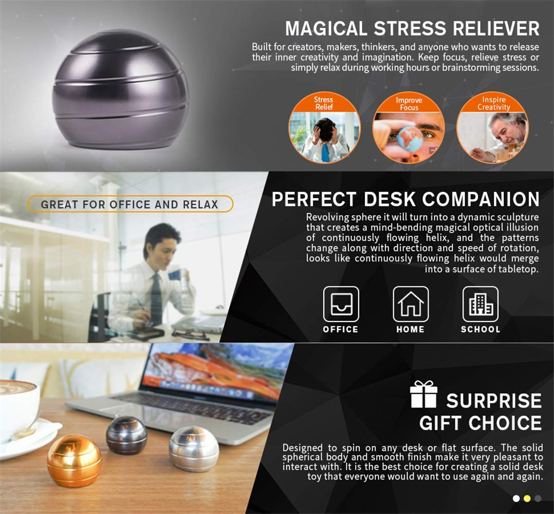 Kinetic Desk Toys for Office Adults and Kids Novelty Metal Fidget Gadget with Optical Illusion Unique Ball Stress Reliever for Stress Relief Anti Anxiety Increase Focus Inspire Creativity (Silver) by QIONMAR-A (Image #3)