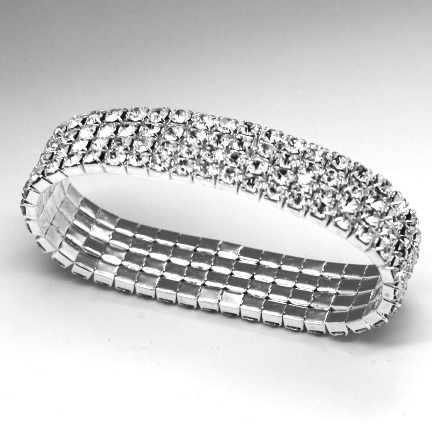 fi9® 3, 4, 5 Row Stretchy Stretch Diamante Silver Stretchy Anklet Ankle chain (3 ROW) MOD