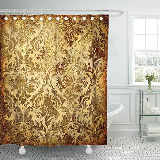 Amazon.com: Emvency Fabric Shower Curtain with Hooks Beige Gold