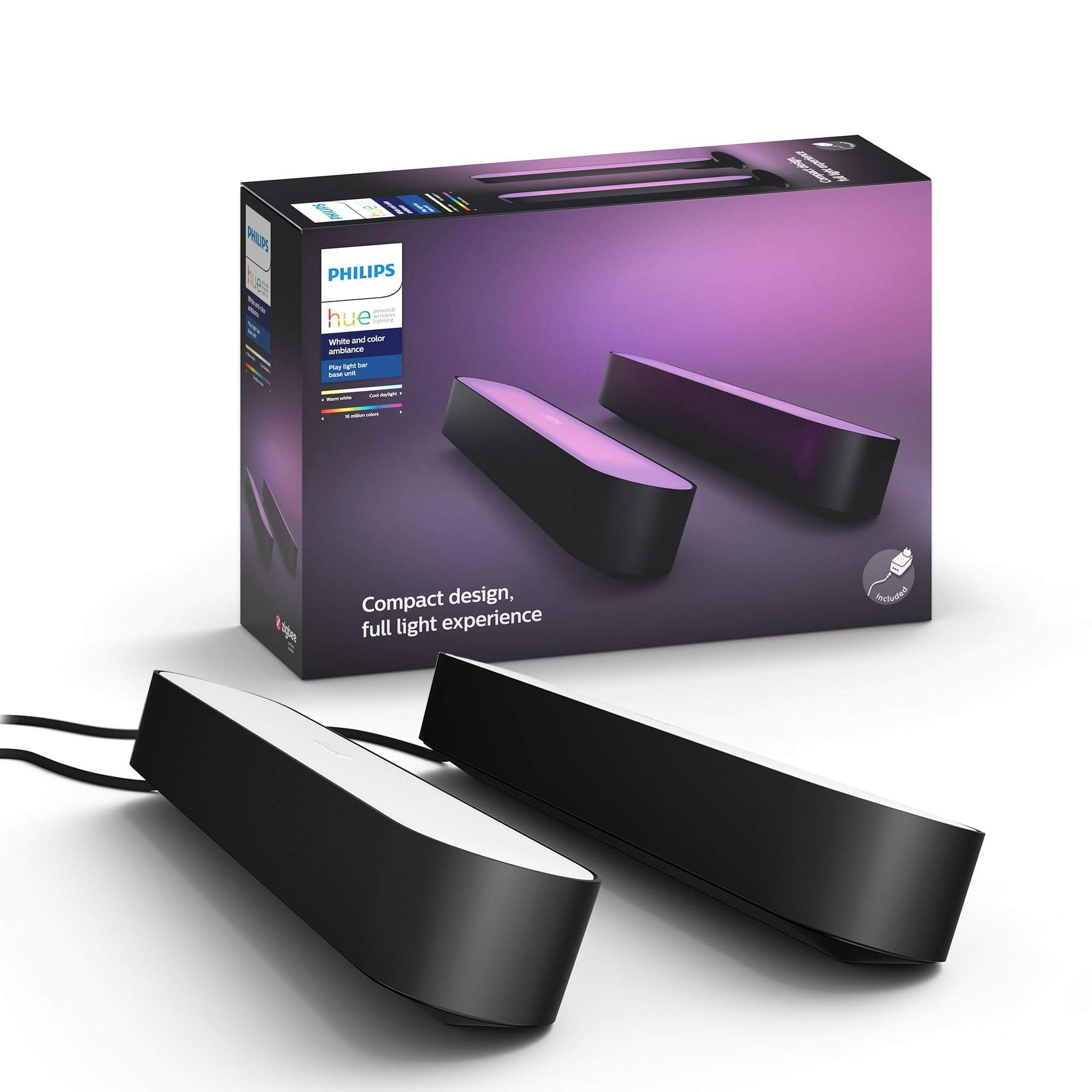 Philips - Hue Play White & Color Ambiance Smart LED Bar Light - Black (Double Pack) (Renewed) by Philips Hue (Image #1)