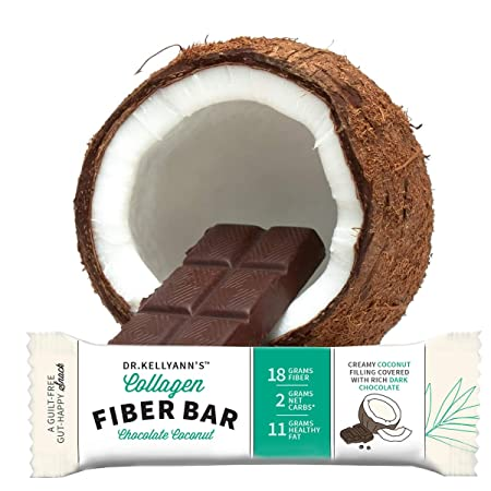Keto Collagen Fiber Bar – High Fiber, Low Carbs – Dairy Free, Soy Free, Gluten Free, Non-GMO No Added Sugar – Perfect Keto Paleo Snack with Creamy Coconut Inside Dipped in Dark Chocolate 12 bars