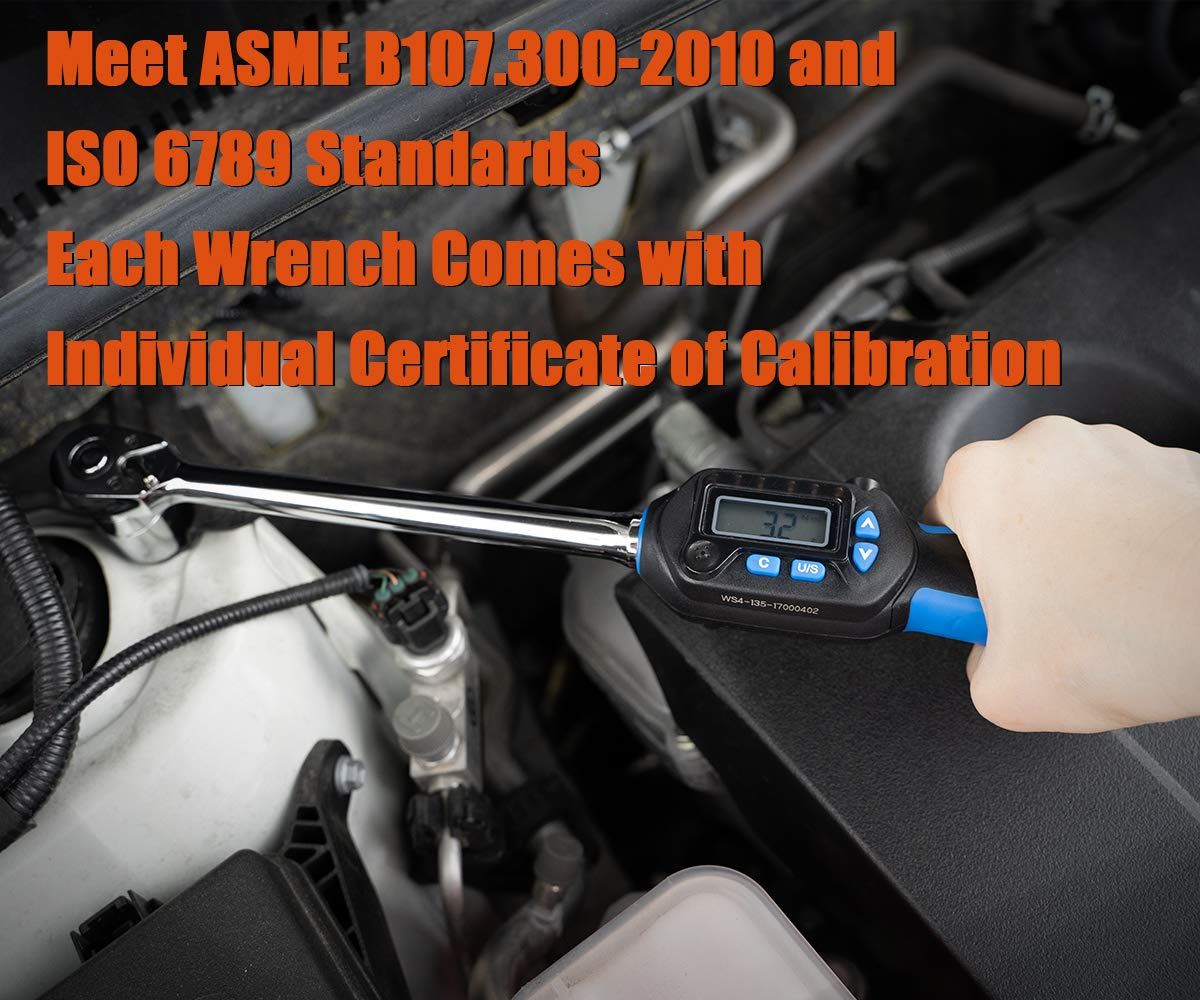 Summit Tools Digital Torque Wrench with 1/2-inch DR and 5-99.5 ft-lbs Torque Range, Buzzer and Sequential LED, 0.1 ft-lb Resolution with ±3% Tolerance, Certificate of Calibration (WSP4-135CN) by Summit Tools (Image #6)
