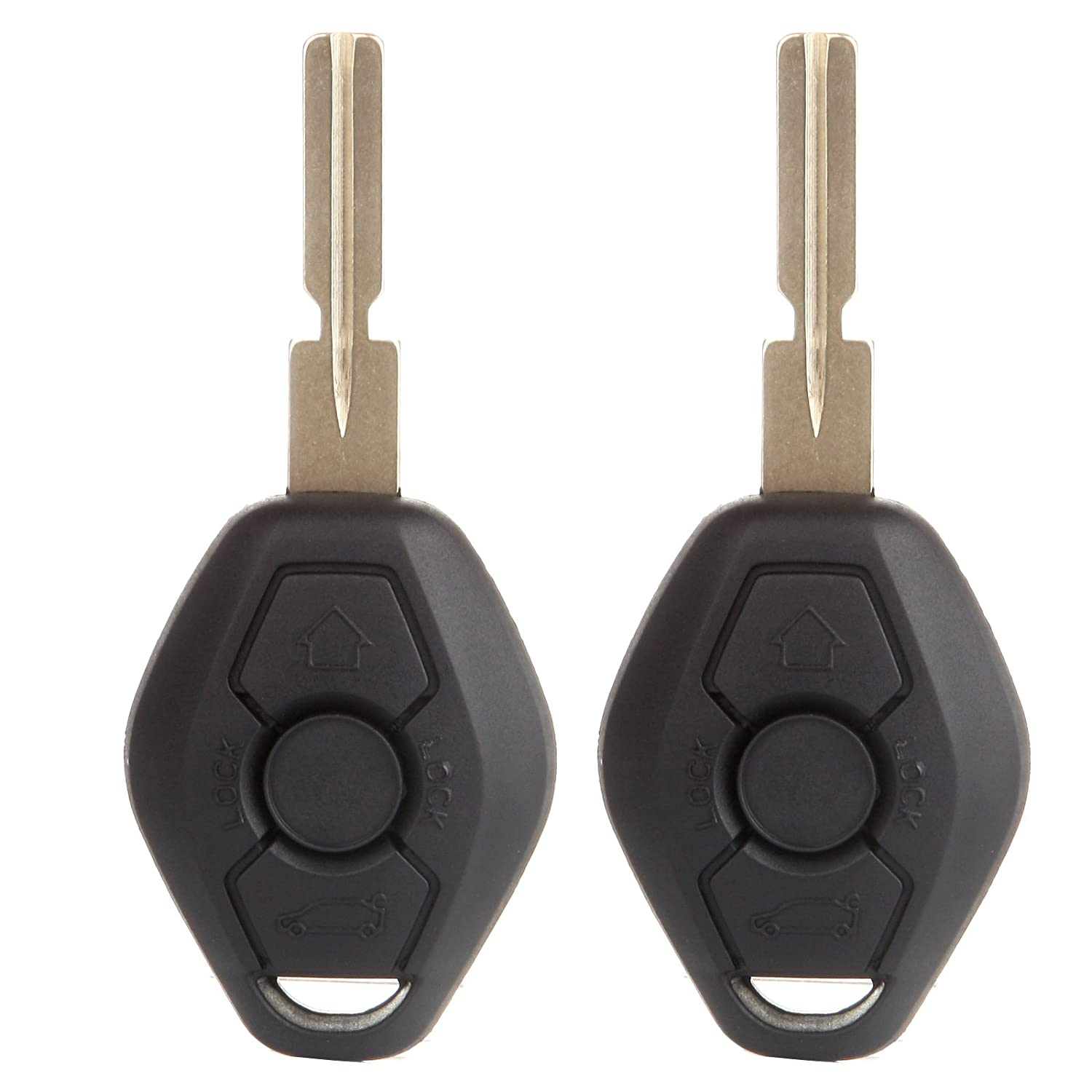 cciyu Replacement Uncut Ignition Key Combo Blank Transponder Chip 2X Replacement fit for BMW Series