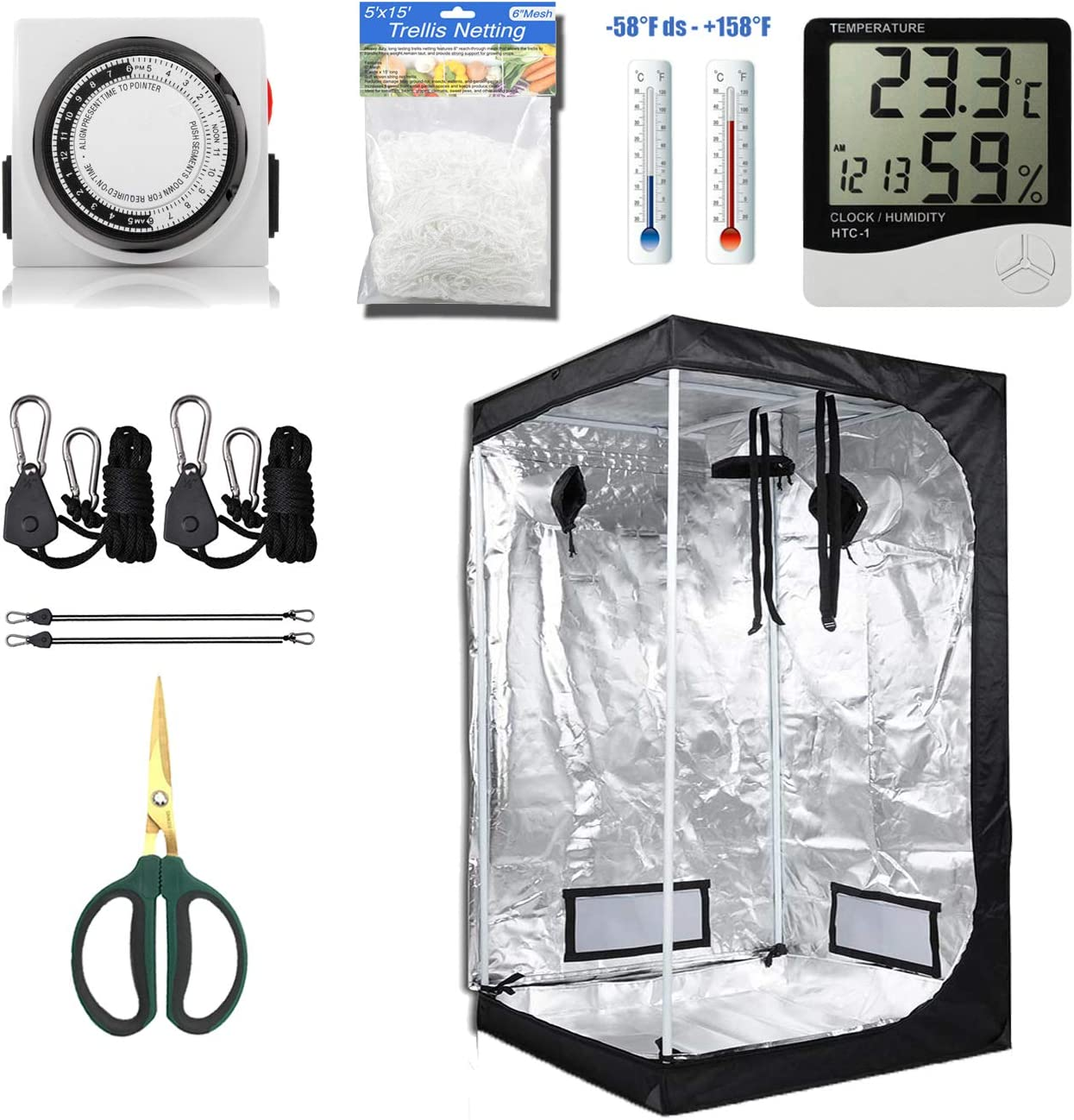 cdmall Grow Tent Room Complete Kit 36 x36 x72 Kit Hydroponic Growing System Indoor Plants Growing Dark Room Non Toxic Hut Hydroponics Growing Setup Accessories 36 x36 x72 Kit