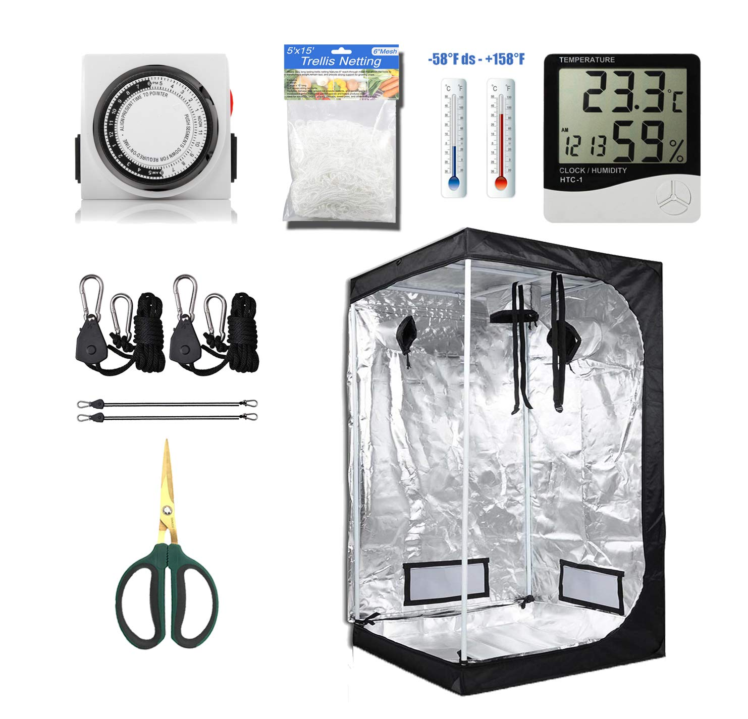 GreenHouser High Reflective 36''x36''x72'' Grow Tent Room+24 Hours Timer+Temperature HumidityHangers+Bonsai Shears+Netting Trellis for Hydroponics Indoor Planting System