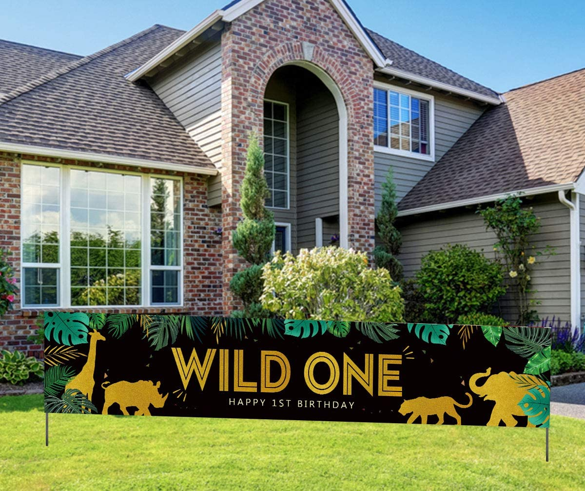 Wild One Banner, Happy 1st Birthday Banner, Jungle Safari Theme 1st Bday Party Banner, Wild One Party Decorations for Boy Girl Black Gold