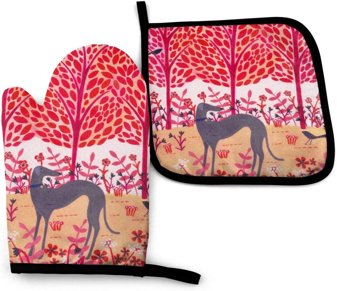 Autumn Greyhound Oven Mitts and Pot Holders Set, Soft Cotton Lining with Non-Slip Surface, Heat Resistant Kitchen Microwave Gloves for Cooking Baking