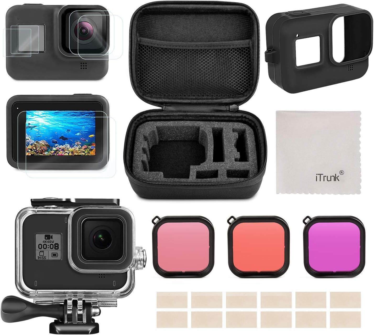 Kit de Accesorios para GoPro Hero 8 Black, iTrunk 24 en 1 con Paquete Pequeño para la Carcasa Impermeable Protector de Pantalla Filtro Rojo Funda de Silicona para GoPro Hero 8 Black Cámara de Acción
